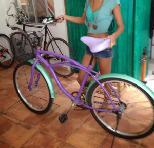 purple beach cruiser